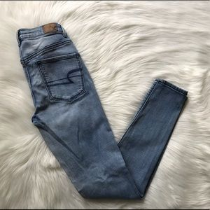 AEO Ladies Distressed Sky High Jegging; SZ 0.